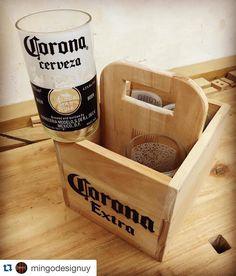 """32 Likes, 1 Comments - • maxima • (@feriamaxima) on Instagram: """"#Repost @mingodesignuy with @repostapp. ・・・   Caja de madera con 4 vasos de cerveza Corona. Veni a…"""""""