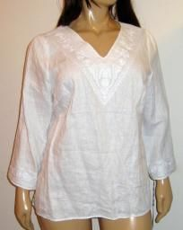 Carole Little White Linen Tunic Top with Embroidered Detailing Neck & Sleeves 2X