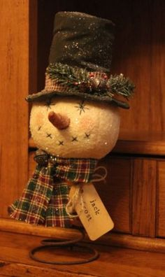 Primitive Christmas Snowman Nodder Make do Rusty Bed Spring Handmade Prim Christmas, Christmas Sewing, Christmas Tree Toppers, Winter Christmas, Christmas Ornaments, Christmas Trees, Snowman Crafts, Christmas Projects, Holiday Crafts