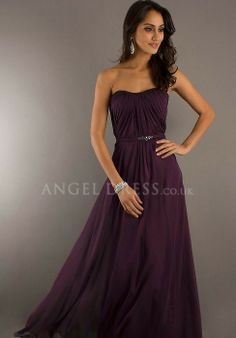 Chiffon Sheath/ Column Strapless Natural Waist Floor Length Sleeveless Evening Dress