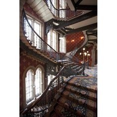One of the grand staircases in the St Pancras Renaissance Hotel