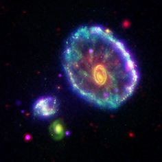 The Cartwheel Galaxy (also known as ESO 350-40) is a lenticular galaxy and ring galaxy about 500 million light-years away in the constellation Sculptor.