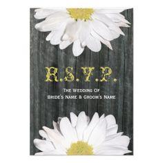 Barnwood and Daisy Wedding Small RSVP Invitation