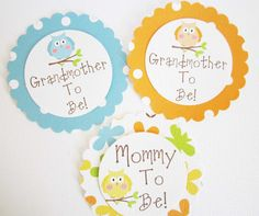 Great idea to honor grandma and great grandma to be! Baby Shower Owl Corsages by outsidetheboxdessert Baby Shower Badge, Baby Shower Niño, Baby Shower Parties, Baby Corsage, Babyshower, Baby Boy Themes, Baby Boy Announcement, Baby Boy Pictures, Baby Boy Bedding