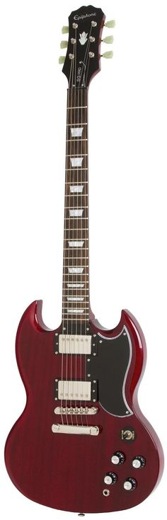 Get yourself the Epiphone Pro Cherry from the UK's Largest Guitar Store. Buy today and get this Epiphone with Free Delivery. Derek Trucks, Bass Guitar Straps, Epiphone Sg, Rickenbacker Bass, Guitar Store, Cool Electric Guitars, Angus Young, Guitar Photography, Guitar Room