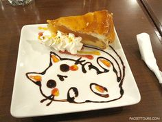 Cute chocolate cat at the maid cafe in Tokyo, Japan ©PacSet Tours Inc. Bento, Chocolate Cat, Chocolate Drawing, Kawaii Dessert, Cat Cafe, Yummy Food, Tasty, Cute Desserts, Cafe Food
