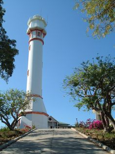 The lighthouse at  Cape Bolinao ,Pangasinan .Philippines