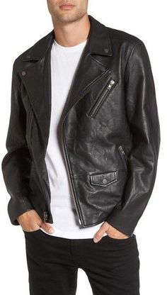 Treasure & Bond Men's Leather Biker Jacket