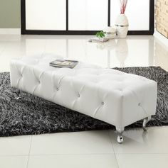 Long White Leather Coffee Table For A Modern Living Room  #leathercoffeetables Living Room Design #