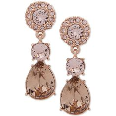 Givenchy Rose Gold-Tone Pink Crystal Drop Earrings (1.195 CZK) ❤ liked on Polyvore featuring jewelry, earrings, pink, pink crystal earrings, drop earrings, pink crystal jewelry, rose gold tone earrings and crystal drop earrings