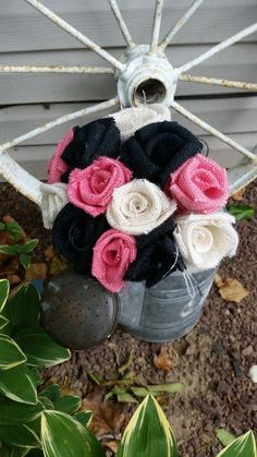 Handmade burlap wedding bouquet DIY pink white black rustic vintage country shabby chic woodland modern bridal shower project farmhouse by ANGIESZZZCRAFTS on Etsy