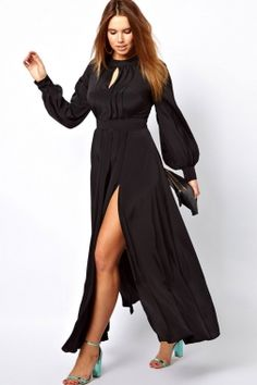 Black Plus Size Frilled Maxi Dress with Bell Sleeves