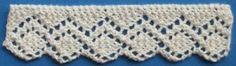 Various knitted lace trims and edging. Includes description, chart, and written instructions.