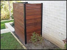 To hide the utility meters and air conditioner units. To hide the utility meters and air conditioner units. Outdoor Spaces, Outdoor Living, Outdoor Decor, Air Conditioner Screen, Outdoor Screens, Timber Screens, Screen Enclosures, Pool Equipment, Water Tank