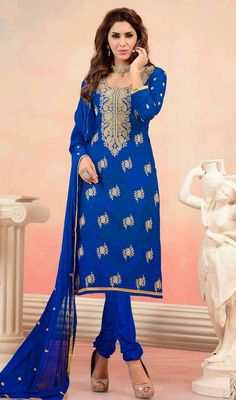 Splash a sensation of innocence and beauty draped in this blue chanderi cotton silk embroidered churidar suit. The resham work appears to be like chic and excellent for any affair. #EmbroideredChanderiSilkChuridarDress