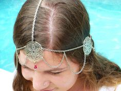 Moon Light Maiden Headpiece - Bohemian - Wedding - Tribal - Ruby red crystals and recycled materials <3