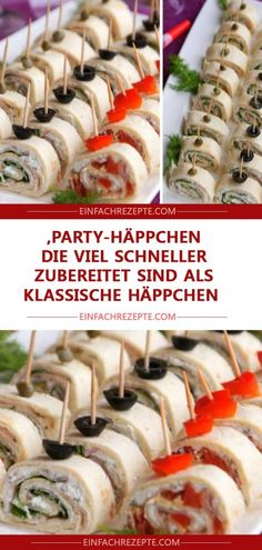 Party snacks that are prepared much faster than classic snacks ˜ .Party snacks that are prepared much faster than classic snacks ?Finger food recipes make your next party a pleasureFinger food Best Party Appetizers, Snacks Für Party, Appetizer Recipes, Party Finger Foods, Party Buffet, Healthy Snacks, Easy Meals, Easy Recipes, Food And Drink