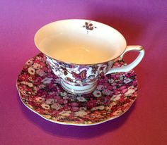 """Grace's Teaware - NEW """"Liberty Red"""" Tea Cup & Saucer (Pink Chintz & Paisley)"""