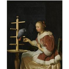 FRANS VAN MIERIS THE ELDER  LEIDEN 1635 - 1681  A YOUNG WOMAN IN A RED JACKET FEEDING A PARROT