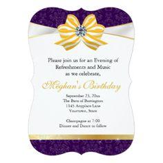 Diamond Yellow Ribbon with Purple Damask Pattern 5x7 Paper Invitation Card