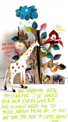 Lost my giraffe. Mixed media collage with giraffe, tree and handwritten text by Ing-things.