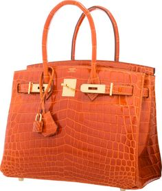 845bd87959c3 Hermes 30cm Shiny Orange H Nilo Crocodile Birkin Bag with GoldHardware.  Hermes, El Çantaları