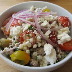 Cous cous with olives, feta, mint