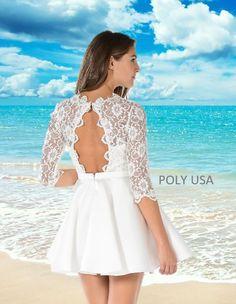 06df651bac POLY USA - style 7876 - Off White dress. Short dress. Lace dress.