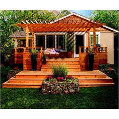 What an inviting deck and pergola.  Some shade cloth across the top would make it cooler on hot days.