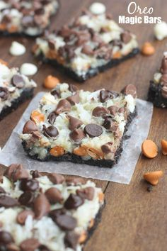 Oreo Magic Bars – Seven simple layers of Oreo chocolate bliss starting with an Oreo crust, three different types of chocolate chips, coconut and nuts. This is the EASIEST dessert, and always a party favorite.