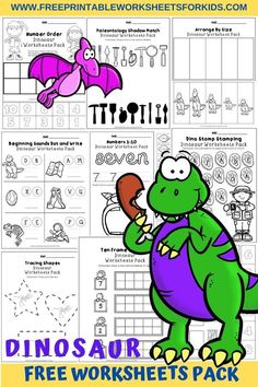 50 pages of fun dinosaur worksheets for early literacy, math and fine motor skills that are perfect for preschoolers and kindergarteners. #freeprintableworksheetsforkids #alphabet #letter #literacy #math #counting #numbers #finemotor #art #drawing #color #dinosaur #animal Dinosaur Worksheets, Dinosaur Printables, Letter Worksheets, Free Printable Worksheets, Worksheets For Kids, Early Learning Activities, Math Activities, Beginning Sounds Worksheets, Alphabet Writing