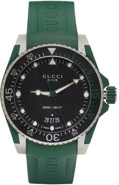 86967b968bb Gucci Green and Silver Dive Watch Reloj Gucci