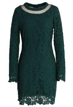 Mesh Neck Crochet Shift Dress in Dark Green