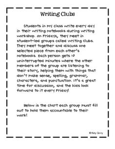 Writing Clubs Idea, this could fit in nicely during daily five time on Fridays Writing Strategies, Writing Lessons, Writing Resources, Teaching Writing, Writing Activities, Writing Ideas, Teaching Tools, Work On Writing, Middle School Writing