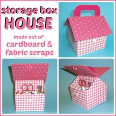 """DIY Tutorial: Storage Box House: wesens-art.blogspot.com - Easy to follow instructions to make this adorable box out of a tissue box. So many ways to customize: could be """"shabbified"""", could be decorated for a little girl to hold her treasures."""