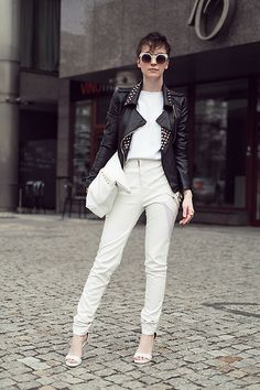Charlotte Rouge Pants, Zero Uv Sunglasses, Sheinside.Com Studded Jacket, Charlotte Rouge Handbag, Jeffrey Campbell Sandals, Zara Sweater