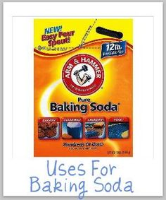 List of lots of uses for baking soda around your home, for cleaning, stain removal, laundry, odor removal, and more {on Stain Removal 101}