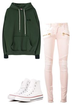 """""""Untitled #1139"""" by ladylunaslife on Polyvore featuring Balmain and Converse"""