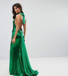 c77b36f4a0 Jarlo High Neck Fishtail Maxi Dress With Open Back Detail at asos.com