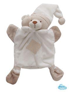 Mantita de apego para bebé con forma de oso,cuyo interior está hueco para utilizarla como muñeco de guiñol, una manera graciosa y divertida de entretener a tu bebé.