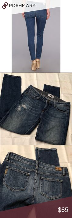 Paige skyline ankle peg distressed jeans Paige skyline ankle peg distressed jeans. Size 28. Excellent condition. PAIGE Jeans Ankle & Cropped