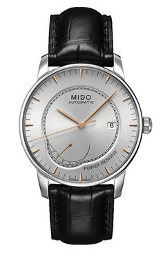 Mido Baroncelli Power Reserve Silver dial, rose markers and hands. ETA 2897 (2892 with power reserve complication). 42 mm, exhibition case back, 5 bar M8605.4.10.4 | Mido US