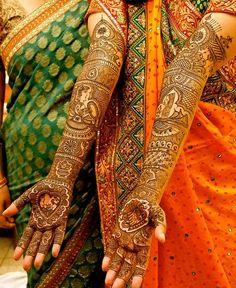 Mehendi for indian bride, dulhan and dulha bride