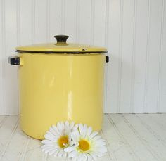 Vintage Black on Butter Yellow EnamelWare Large by DivineOrders, $27.00