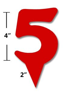 Lot of 4 Red Acrylic Number 5 Birthday Wedding Anniversary Cake Topper
