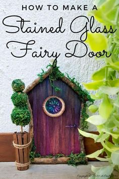 Welcome the fae folk into your home with this gorgeous stained glass fairy door. Made with things you probably already have in your craft cupboard the door doubles up as a night light. #FairydoorDIY #FairyDoorIdeas #ACraftyMix #MakeAFairyDoor #MiniatureStainedGlass #AlcoholInk Diy Fairy Door, Fairy Doors, Diy Craft Projects, Diy And Crafts, Crafts For Kids, Project Ideas, Craft Ideas, Boho Diy, Boho Decor