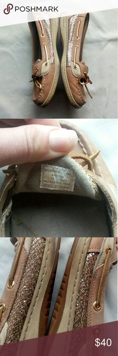 Gold Sperry's size 9 Super cute gold pattern Good condition-normal wear Size 9 Sperry Shoes Flats & Loafers