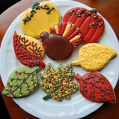 Happy Thanksgiving Turkey and Autumn Leaves Decorated Cookies in fall colors. Thanksgiving Cookies, Fall Cookies, Cut Out Cookies, Iced Cookies, Holiday Cookies, Holiday Treats, Sugar Cookies, Happy Thanksgiving, Thanksgiving Turkey