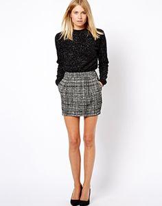 Mango Jacquard Print Mini Skirt