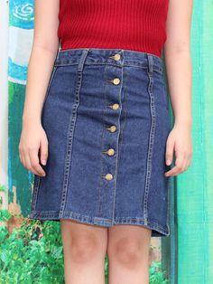 Dark Blue Button Up Denim Skirt